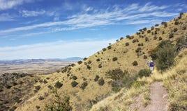 Huachuca陡峭的山峰足迹的一个远足者 免版税库存照片