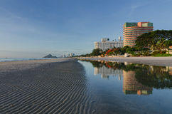 Huahin beach in Thailand. With reflection Stock Images