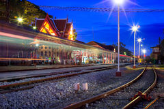 HuaHin railway station at night, Thailand Stock Images