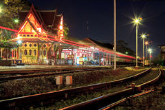 HuaHin railway station at night, Thailand Stock Photography
