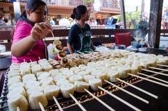 HUAHIN, Thailand : Banana grilled. HUAHIN, Thailand : Bananagrilled in Plernwan One of popular vintage market landmark and many ativity located at Petchkasem Stock Photo