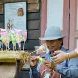 HUAHIN, Thailand : Man made and selling candy. At Plernwan One of popular vintage market landmark and many ativity located at Petchkasem Road Stock Photo