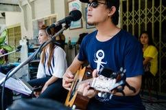 HUAHIN, Thailand : Playing music. At Plernwan One of popular vintage market landmark and many ativity located at Petchkasem Road Stock Photo