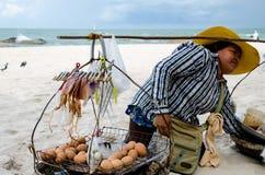 HUAHIN Thailand : Woman selling food. Woman selling food at HUAHIN beach, Thailand Stock Image