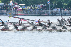 Huahin Traditional Thai long boats race 2016 Stock Photography