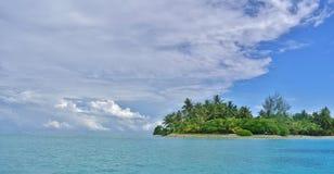 Huahine, tropical island paradise. Palm trees stock photo