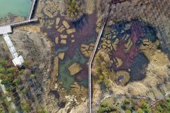 Huai `an, Jiangsu Province, China: The Ancient Yellow River Wetland Park Looks Like An Oil Painting Stock Photos