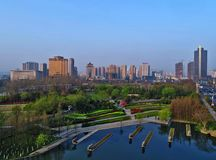 Huai `an city, jiangsu province, China. On April 1, 2017, aerial photo of the residents of the morning exercise of the jiaochi mountain park in huaian city Royalty Free Stock Image