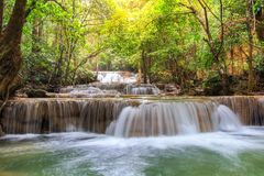 Huai Mae Khamin waterfall in deep forest Stock Photography