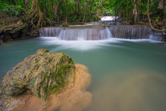Huai Mae Khamin waterfall in the forest, Kanchanaburi, Thailand Stock Photo