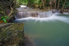 Huai Mae Khamin waterfall in Kanchanaburi province, Thailand, As Stock Images