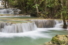 Huai Mae Khamin waterfall in Kanchanaburi Stock Photos