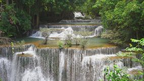 Huai mae khamin waterfall in kanchanaburi thailand stock video footage