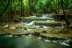 Huai Mae Khamin Waterfall. In the mountainous Khuan Si Nakharin National Park, is located in Amphone Sai Yok and Amphoe Thong Pha Phum in the province of royalty free stock photo