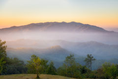 At huai nam dang national park, Chiang mai, Thailand. Beautiful morning time nature background mountains and sky Royalty Free Stock Images