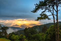Huai Nam Dung. Sunset View at Huai Nam Dung National Park, Mae Tang, Chiang Mai, Thailand Royalty Free Stock Photo