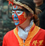 Hualian Drgon,Face painting. In the China traditional Lantern Festival, the Hualian Dragon parade of performance, in Longli,Guizhou province,China Stock Images