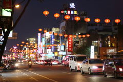 Hualien City Night View. Hualien City In East of Taiwan. Photo taken at the main street at night in Apr Stock Photography