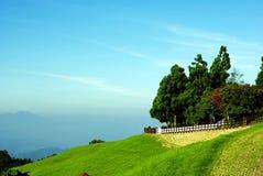 He huan Mountain. Taiwan He Huan Mountain, road along mountain with sky blue Royalty Free Stock Photos
