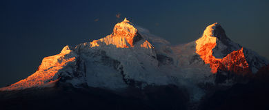 Huandoy szczyty Fotografia Royalty Free
