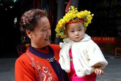 Huang Long Xi, China: Baby with Floral Wreath Stock Images