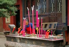 Huang Long Xi, China: Burning Incense Sticks Stock Photo