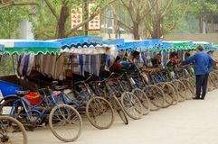 Huang Long Xi, China: Pedicab Taxicabs Royalty Free Stock Photography