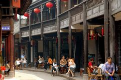 Huang Long Xi, China: Sichuan Wooden Houses Royalty Free Stock Photo