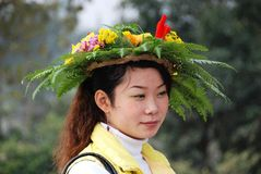 Huang Long Xi, China: Woman with Floral Hat Royalty Free Stock Photos