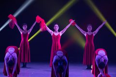 """Flower girl-Huang Mingliang`s dance""""No shelter"""". Huang Mingliang`s dance""""No shelter"""",Young dancers from Jiangxi Institute of science stock photography"""