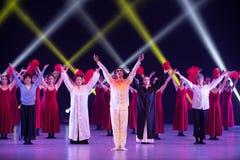 "Curtain call-Huang Mingliang`s dance""No shelter"". Huang Mingliang`s dance""No shelter"",Young dancers from Jiangxi Institute of royalty free stock photo"