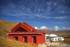 Huang temple and mongolian yurt Royalty Free Stock Images