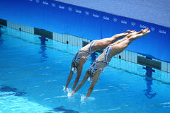 Huang Xuechen and Sun Wenyan of team China compete during synchronized swimming duets free routine preliminary of the Rio 2016 Stock Image