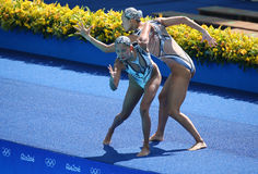 Huang Xuechen and Sun Wenyan of team China compete during synchronized swimming duets free routine preliminary of the Rio 2016 Royalty Free Stock Photos