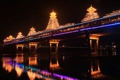 Huang Zhou Feng Yuqiao(wind-rain bridge) night. Feng Yuqiao (wind-rain bridge), is Chinese of ethnic minority unique bridge. Generally exist in Hunan, Hubei stock image