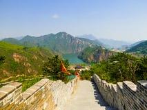 Huanghuacheng湖边长城部分 免版税库存照片