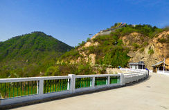 Huanghuacheng Great Wall Reservoir dam. Huanghuacheng Lakeside Great Wall reservoir dam with one section background in Beijing China on a sunny day Stock Photo
