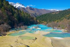 Huanglong colorful pools formed by calcite deposits. Royalty Free Stock Photography