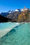 Huanglong colorful pools formed by calcite deposits. Royalty Free Stock Photo
