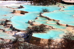 Huanglong National Park. Brightly coloured pools at Huanglong, Sichuan Stock Image