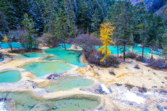 Huanglong National Park in the northwest part of Sichuan,China. Stock Image