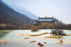 Huanglong Scenery With Calcification Pond Royalty Free Stock Photography