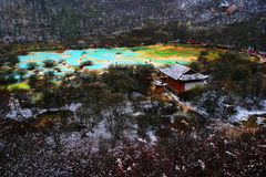 Huanglong in winter. Limestone pools in Huanglong jiuzhaigou nature protection area, Sichuan province, China Stock Photos