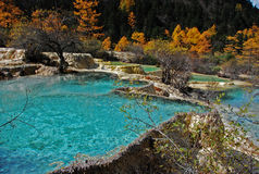 Huanglong , The Yellow Dragon. A scenic and historic interest area in the northwest part of Sichuan, China. It is located in the southern part of the Minshan Stock Photography