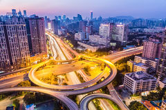 Huangpu interchange in nightfall Royalty Free Stock Image