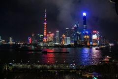 Huangpu river at night Stock Photos