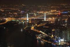 Huangpu River at night, Shanghai Stock Photos