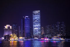 Huangpu River at night,Shanghai Royalty Free Stock Photos