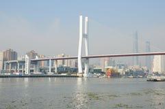 Huangpu River och Nanpu bro Fotografering för Bildbyråer