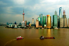 Huangpu river and Shanghai Royalty Free Stock Photos